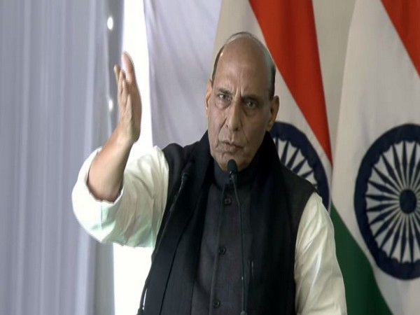 Defence Minister Rajnath Singh speaking at the inauguration of Atal Tunnel, Rohtang in Manali on Saturday. Photo/ANI