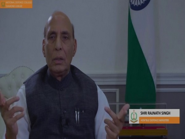 Defence Minister Rajnath Singh virtually addresses the National Defence College event on Thursday. (Photo/ANI)