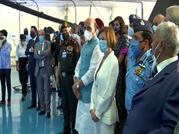 Defence Minister Rajnath Singh, Minister of the Armed Forces of France Florence Parly at the IAF airbase, Ambala on Thursday. [Photo/ANI]