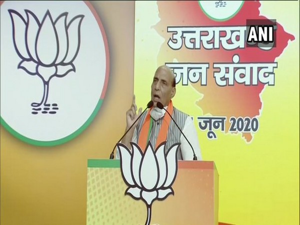 Defence Minister Rajnath Singh speaking at the Uttarakhand Jan Samvad rally on Monday. [Photo/ANI]