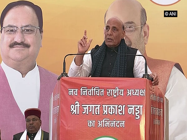 Senior BJP leader and Defence Minister Rajnath Singh speaking at the felicitation programme of the newly elected BJP president JP Nadda.