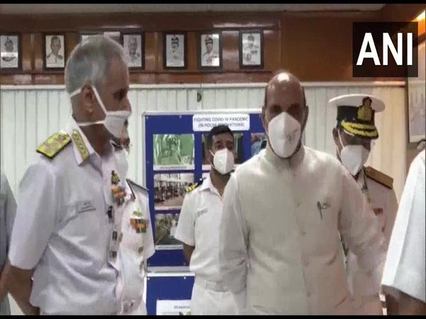 Defence Minister Rajnath Singh at Naval headquarters, Sena Bhavan on Wednesday. [Photo/ANI]