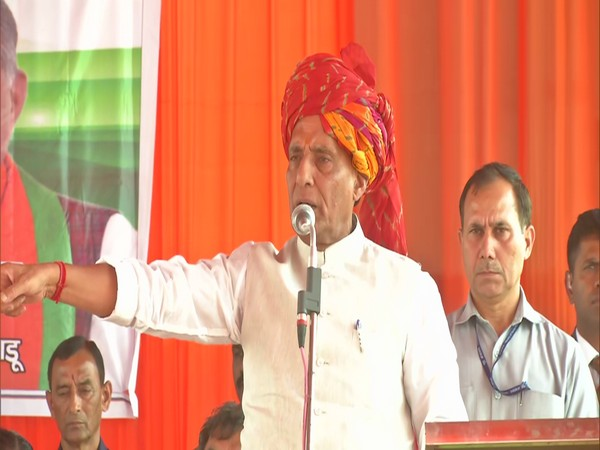 Union Home Minister Rajnath Singh addressing a rally in Haryana's Gurugram (Photo/ANI)