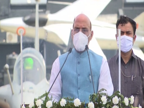 Defence Minister Rajnath Singh speaking at the Rafale induction ceremony at IAF's Ambala airbase on Thursday. [Photo/ANI]