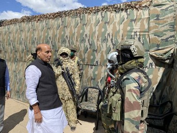 Defence Minister Rajnath Singh interacting with soldiers at Stakna near Leh on Friday. Photo/ANI