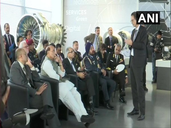 Union Defence Minister Rajnath Singh at Safran group facility on Wednesday