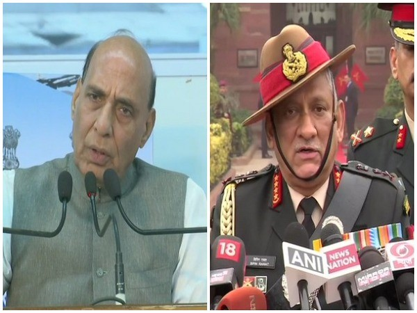 Union Defence Minister Rajnath Singh (Right), Chief of Defence Staff General Bipin Rawat (left) [File photo]