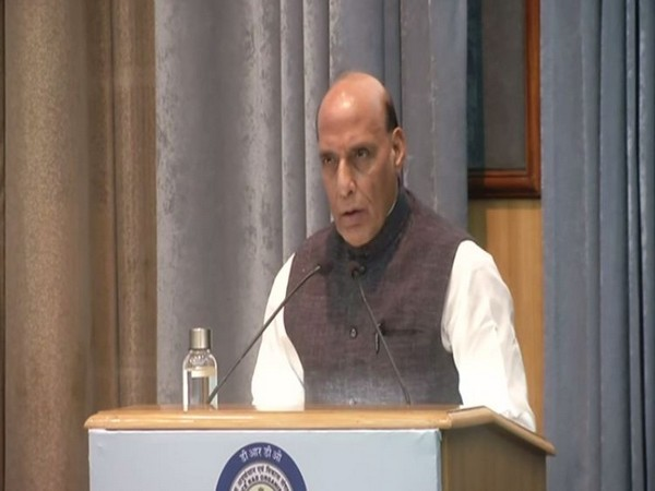 Union Defence Minister Rajnath Singh speaking at the 41st DRDO Directors Conference in New Delhi on Tuesday. Photo/ANI