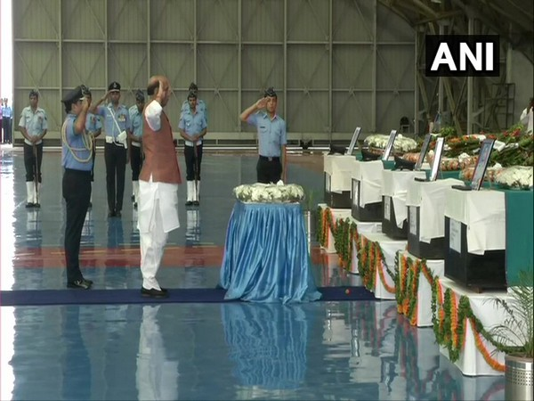 Union Defence Minister Rajnath Singh pays homage to 13 IAF personnel killed in An-32 crash at Palam Airport, Delhi