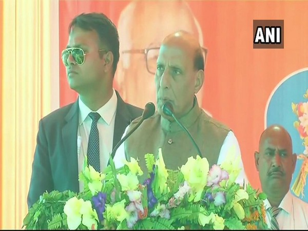 Union Home Minister Rajnath Singh while addressing a public gathering at Unnao, Uttar Pradesh, on Sunday. Photo/ANI