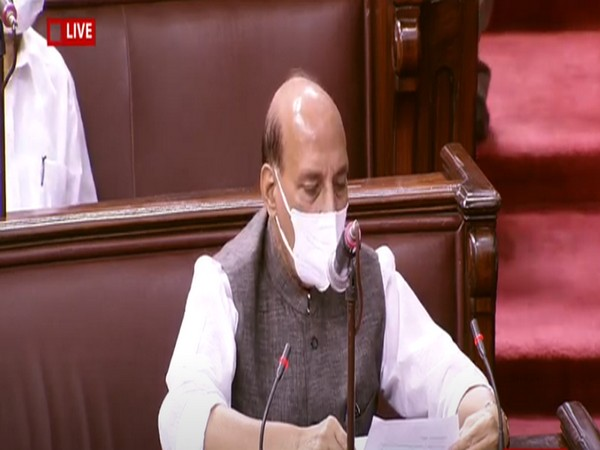 Defence Minister Rajnath Singh speaking in Rajya Sabha on Thursday.