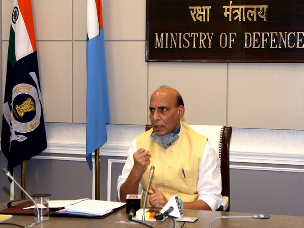 Defence Minister Rajnath Singh during a webinar on Wednesday. (Photo: Twitter)