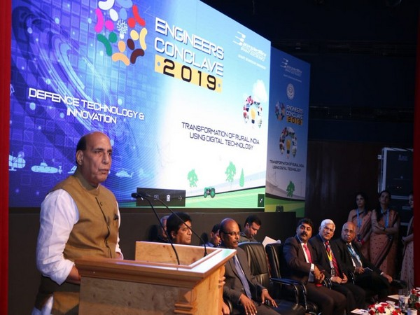 Defence Minister Rajnath Singh addressing 7th edition of Engineers' Conclave-2019 in Bengaluru on Thursday. (Photo Credits: Defence Ministry Twitter)