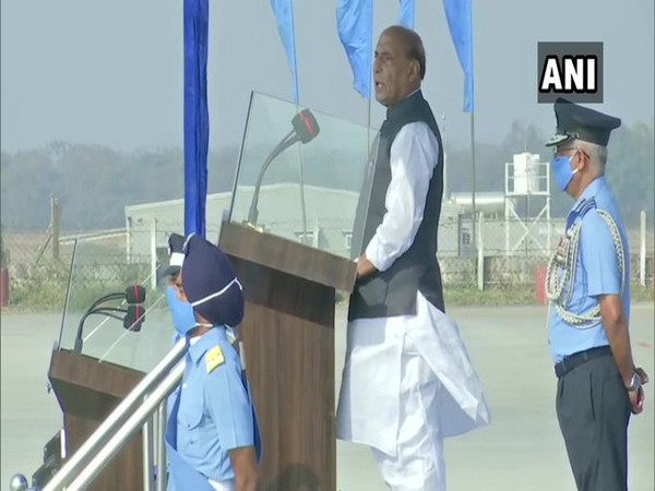 Defence Minister Rajnath Singh attends the Combined Graduation Parade at Airforce Academy in Dundigal, Hyderabad. (Photo/ANI)