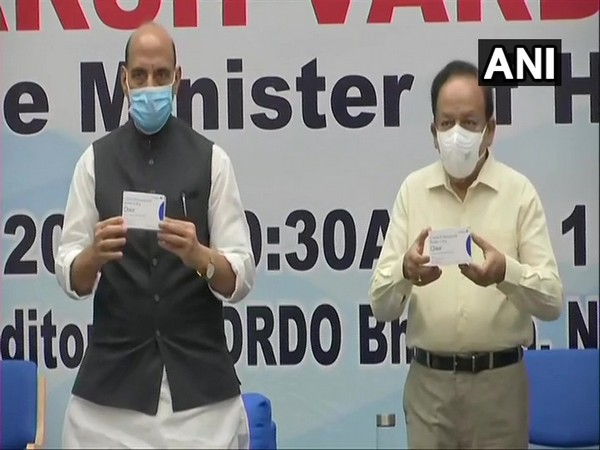 Defence Minister Rajnath Singh releasing first batch 2-DG drug developed by DRDO with Union Health Minister Dr Harsh Vardhan. (Photo/ANI)