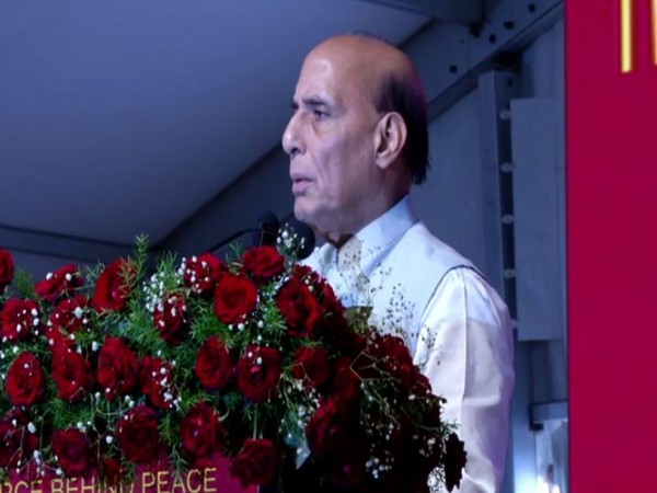 Defence Minister Rajnath Singh during his address at the Golden Jubilee Celebrations of BDL on Saturday. Photo/ANI