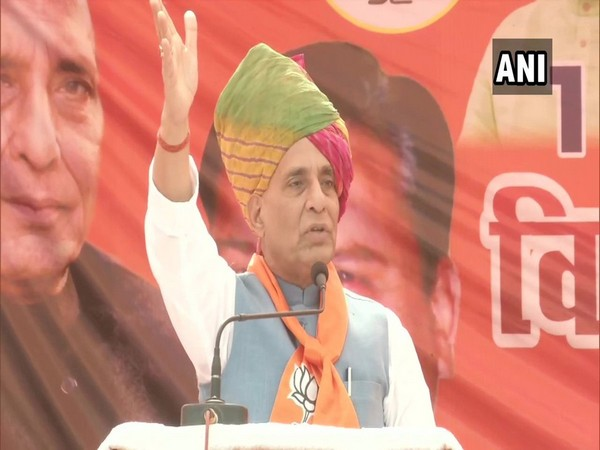 Defence Minister Rajnath Singh addressing a rally in Haryana's Bhiwani on Thursday. Photo/ANI