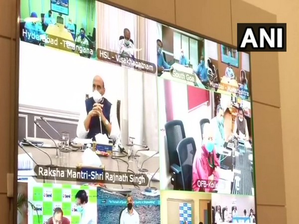 Defence Minister Rajnath Singh is interacting with the heads of Defence Public Sector Units and Ordnance Factory Board via video conferencing on Tuesday. Photo/ANI
