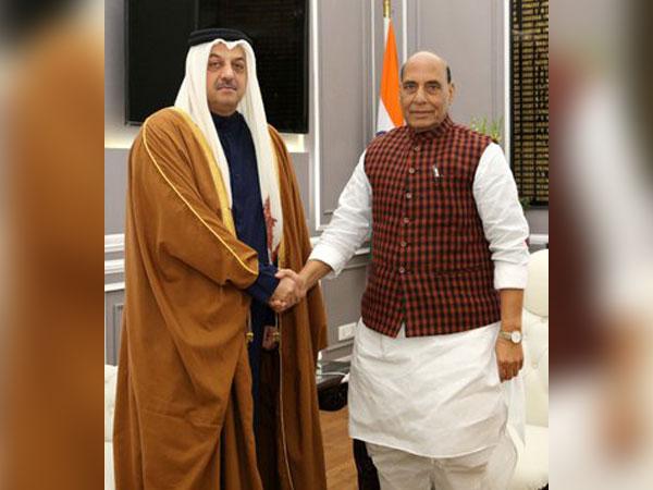 Defence Minister Rajnath Singh with Qatari MoS, Defence Affairs (Photo tweeted by Rajnath Singh)