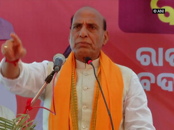 Union Home Minister Rajnath Singh addressing an election rally at Nayagarh, Odisha on Friday. Photo/ANI