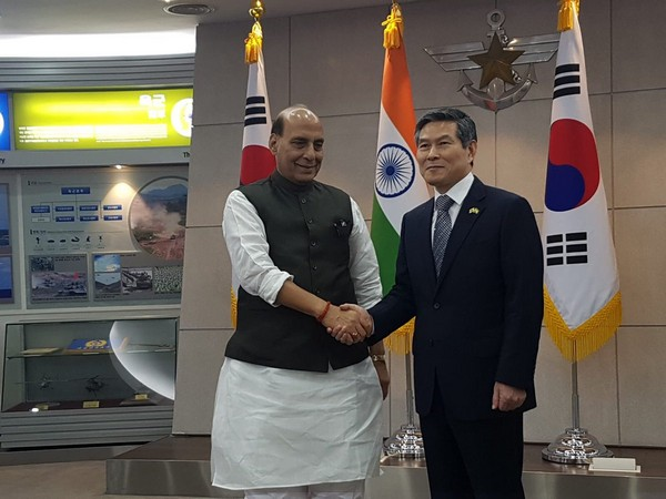 Defence Minister Rajnath Singh with his South Korean counterpart Jeong Kyeong-Doo in Seoul on Thursday. (Photo Credits: Rajnath Singh's Twitter)