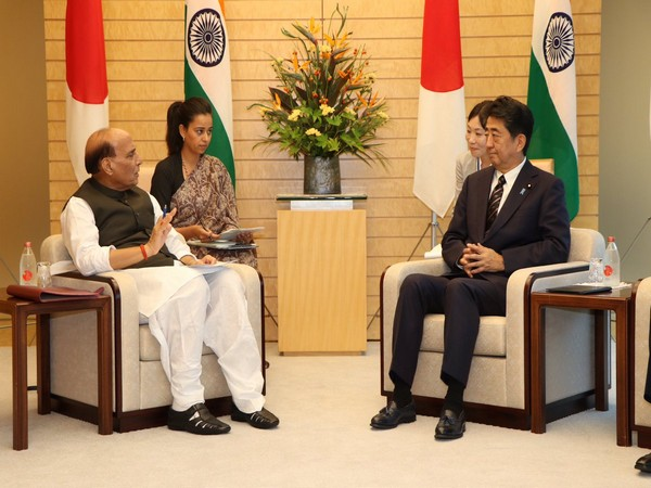 Defence Minister Rajnath Singh in a meeting with Japanese Prime Minister Shinzo Abe on Monday. Photo/ANI
