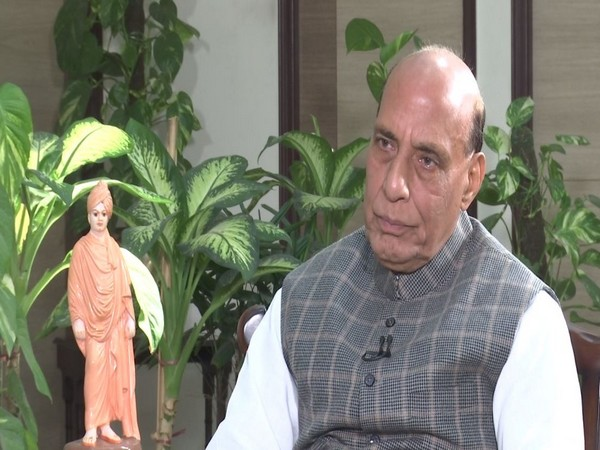 Union Defence Minister Rajnath Singh speaking to ANI