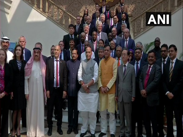 Defence Minister Rajnath Singh along with Heads of Missions and Defence Attaches of over 80 countries in New Delhi on Monday.