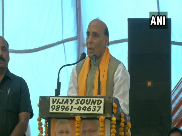Defence Minister Rajnath Singh addressing a public rally in Haryana's Karnal on Sunday.