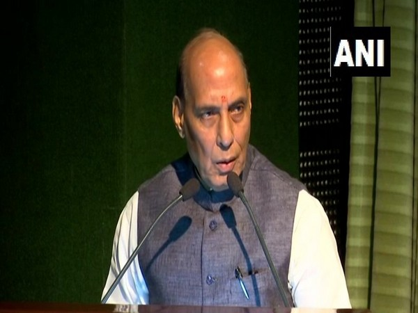 Union Defense Minister Rajnath Singh speaking at an event in New Delhi on Tuesday. Photo/ANI