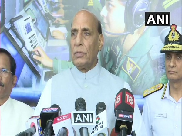 Defence Minister Rajnath Singh speaking to reporters in New Delhi on Tuesday. Photo/ANI