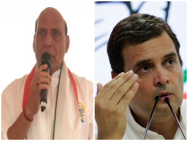 Defence Minister Rajnath Singh and Congress president Rahul Gandhi (File photos)