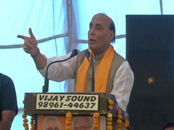 Defence Minister Rajnath Singh addressing a public rally in Karnal on Sunday. (Photo/ANI)