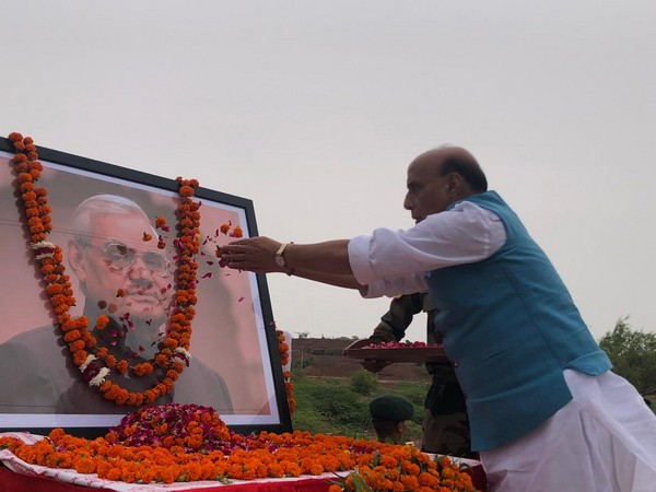 Defence Minister Rajnath Singh paying floral tribute to former Prime Minister Atal Bihari Vajpayee in Pokhran, Rajasthan on Friday.
