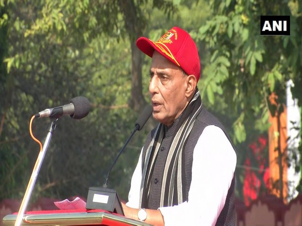 Defence Minister Rajnath Singh speaking at the annual National Cadet Corps rally at NCC Parade Ground in New Delhi on Thursday.