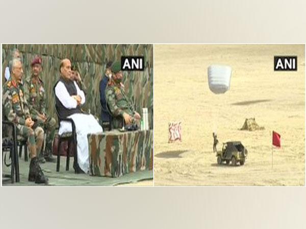 Defence Minister Rajnath Singh at Stakna, Leh. (Photo/ANI)