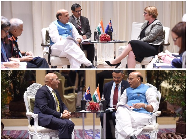 Rajnath Singh holds bilaterals with his New Zealand and Australian counterparts Ron Mark and Linda Reynolds