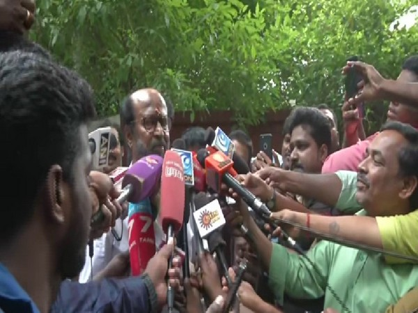 Actor-turned-politician Rajinikanth talking to mediapersons at Poes Garden in Chennai on Saturday. Photo/ANI