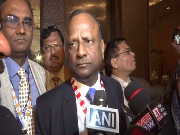 SBI Chairman Rajnish Kumar talking to reporters in New Delhi. Photo/ANI