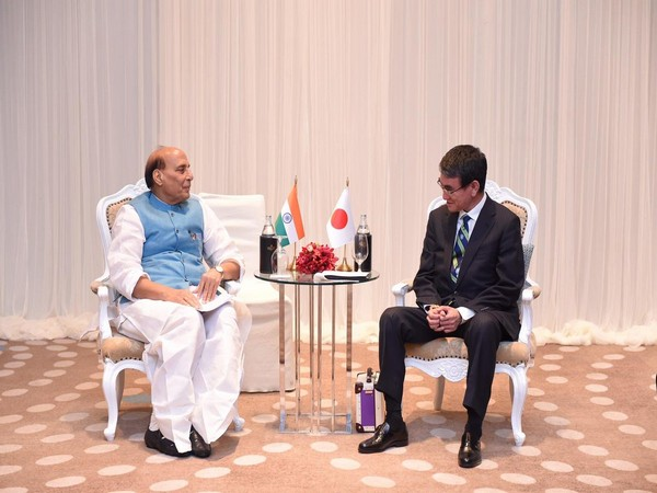 Union Defence Minister Rajnath Singh with Japan's Minister of Defence Taro Kono in Thailand on Sunday (Picture Credits: Rajnath Singh/Twitter)