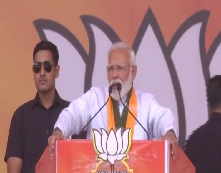 PM Modi addressing a rally in Rohtak on Friday.