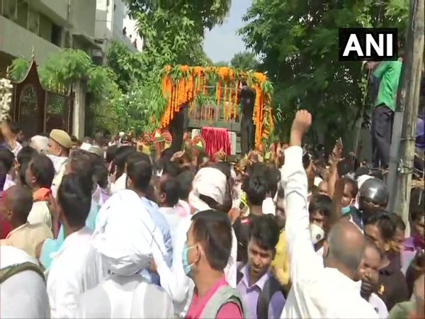 A visual from outside the residence of late Ram Vilas Paswan in Patna on Saturday. Photo/ANI