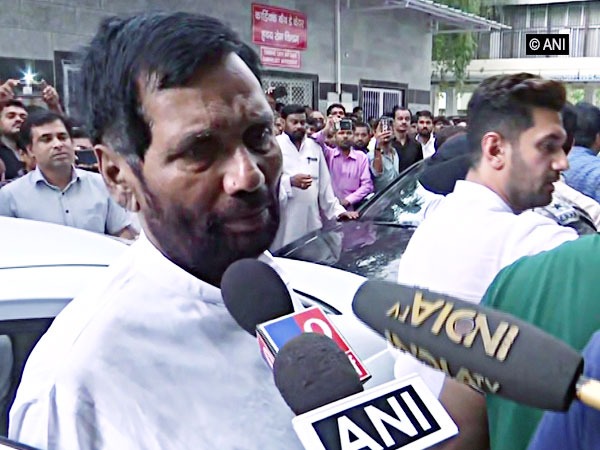 Union Minister Ram Vilas Paswan speaking to media persons in New Delhi on July 21.