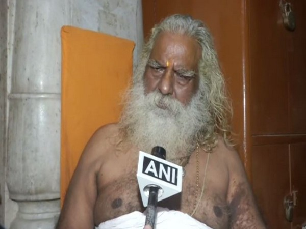 Mahant Nritya Gopal Das of Ram Janmbhoomi Nyas speaking to ANI in Ayodhya on Sunday. Photo/ANI