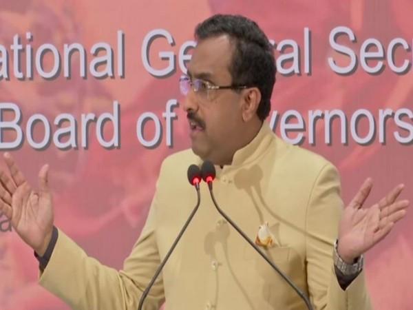 BJP leader Ram Madhav speaking at Osmania University here on 'A Talk on Citizenship Amendment Act' on Friday. (Photo/ANI)