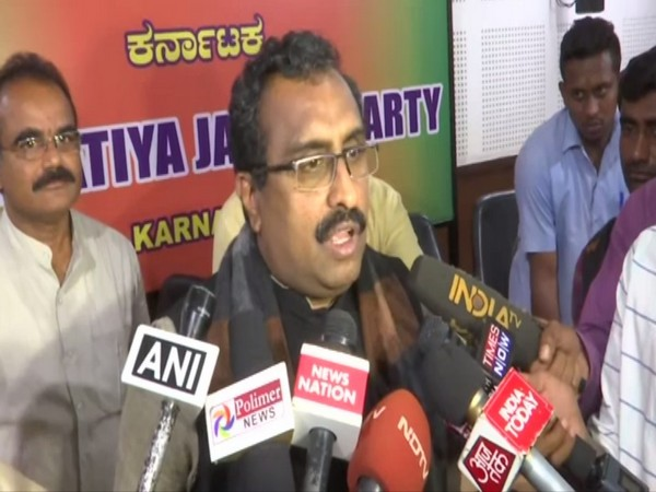 BJP national general secretary Ram Madhav talking to reporters in Bengaluru, Karnataka on Monday. Photo/ANI