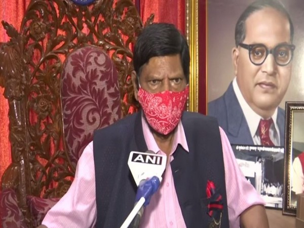 Union Minister Ramdas Athawale speaking to ANI in Mumbai on Thursday. (Photo/ANI)