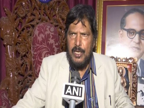 Union Minister Ramdas Athawale speaking to ANI in Mumbai on Monday. Photo/ANI