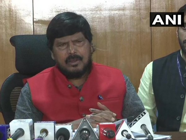 Ramdas Athawale speaking to reporters on Friday.