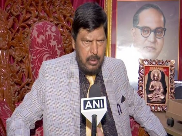 Minister of State for Social Justice and Empowerment Ramdas Athawale speaking to ANI in Mumbai on Saturday. Photo/ANI